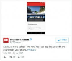 Обновленное мобильное приложение YouTube позволяет загружать и редактировать видео со смартфона