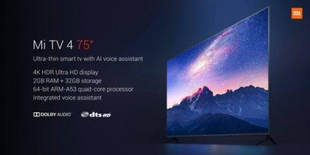 Xiaomi Mi TV 4 75: смарт-ТВ с экраном 4К HDR за $1405