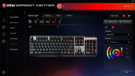 MSI представила игровую механическую клавиатуру Vigor GK50 Low Profile