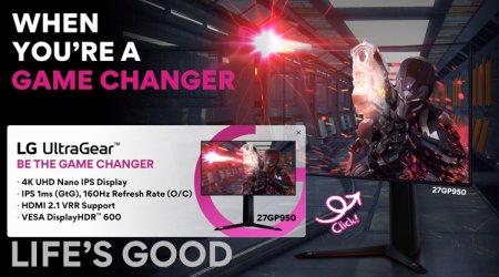 Игровой 4К-монитор LG UltraGear 27GP950 оснащён интерфейсом HDMI 2.1