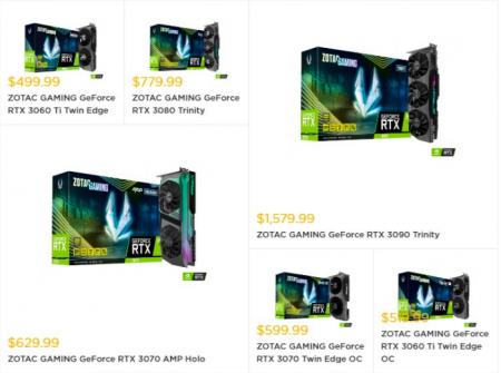 EVGA и Zotac повысили цены на видеокарты GeForce RTX 30-й серии