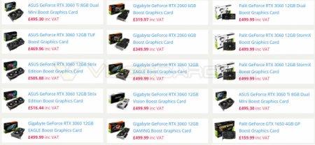 Первые цены на различные варианты GeForce RTX 3060 намекают на ожидаемый дефицит